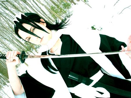 Kuchiki Byakuya from Bleach worn by Nyanko-chan
