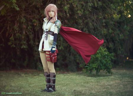 Lightning from Final Fantasy XIII worn by Pikmin Link