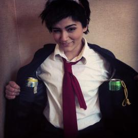 Tohru Adachi from Persona 4 worn by Lauren Hibs
