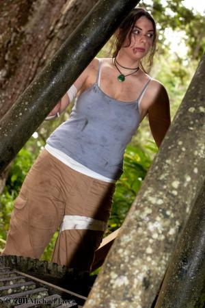 Lara Croft from Tomb Raider worn by Hooded Woman