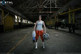 Chell from Portal 2 worn by Monika Lee